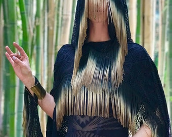 "SPECIALTY: The ""Fortune Teller"" Hooded Black Lace Cape with Long Ombre Dyed Fringe Trim by Opal Moon Designs (One Size)"
