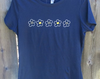 Woman's Whimsical Flowers Crew Neck T-shirt