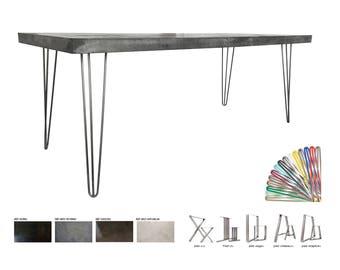Concrete table waxed ultra lightweight 200x80cm steel feet
