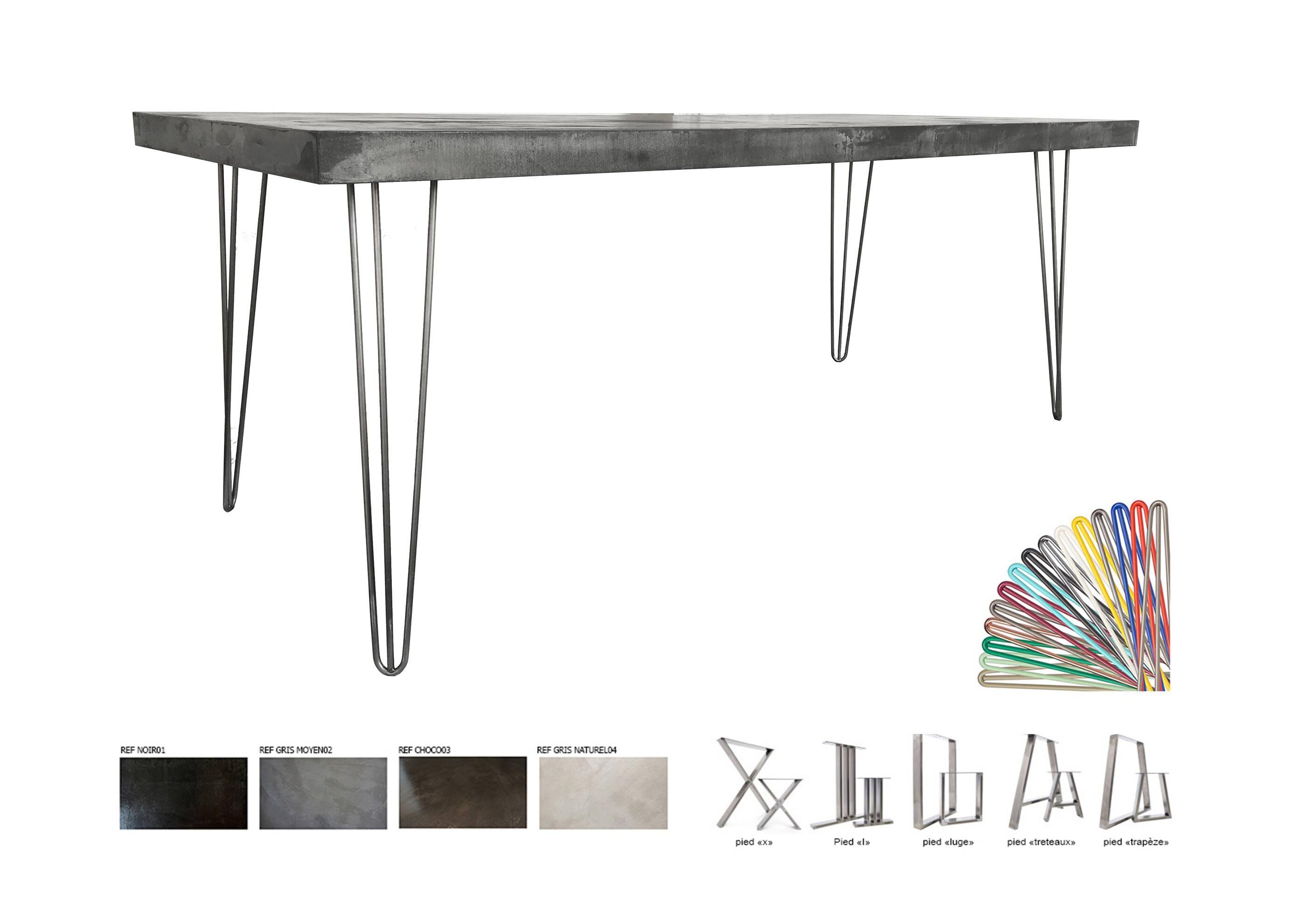 Concrete Table Waxed Ultra Lightweight 200x80cm Steel Feet # Meuble Tv Treteaux