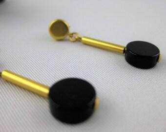 Boucles d'oreilles AGATHA,  agate noire