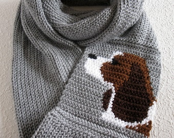 English Springer Spaniel scarf. Crochet and knit infinity scarf with brown and white spaniel dogs. Knitted dog scarf gift. Long cowl scarf