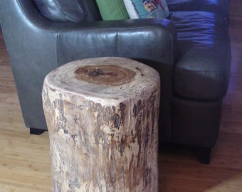 "Tree Stump Table, Large End or Side Table, appox 15"" diameter, 20"" tall, timber end table, tree log, reclaimed wood live edge, side table"