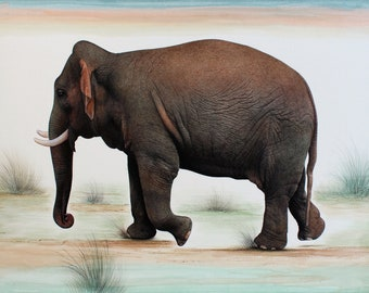 Elephant art painting, realistic fine art painting, hand painted