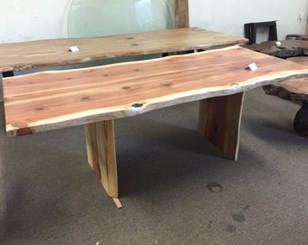 Trestle Based Natural Edge Dining Table By Dog And Pig Furniture