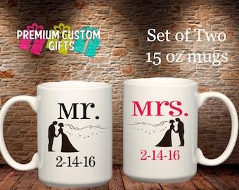 Set of Two 15 Oz Ceramic Mugs - Custom Mr and Mrs Mugs with Wedding Date - Coffee Cup - Personalized Mugs - Custom Coffee Cups