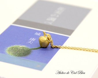 Apple Necklace, Tiny Gold Apple Charm Necklace, Matt Gold Apple Charm Necklace, Matt Gold Apple Pendant Necklace, Gift for Teacher