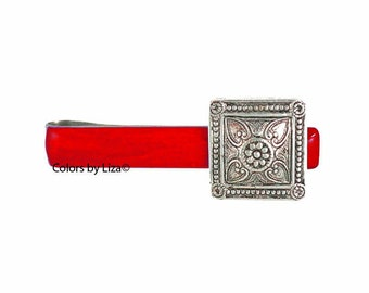 Antique Silver Square Medallion Tie Bar Clip Inlaid in Red Opaque Hand Painted Glossy Enamel Assorted Colors and Personalization Available