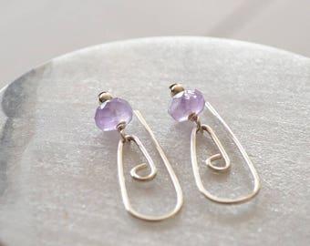 Amethyst Earrings, Amethyst Jewellery, Sterling Silver Earring, Artisan Earrings