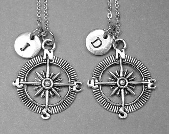 Best friend necklace, compass necklace, compass charm, bff necklace, friendship jewelry, personalized necklace, initial necklace, monogram