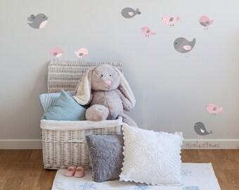 Nursery pink  or Blue Birds Wall Decal. Little  birds wall stickers. Baby Nursery wallstickers.  Nursery pink or blue Bird wall decor