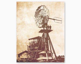 FARMHOUSE DECOR, Rustic Wall Art, Windmill Digital Art, Farmhouse Printable, Country Wall Art, Set of Three, Digital Instant Download