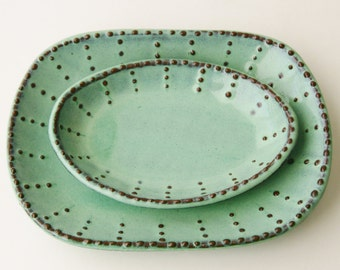 Small Oval Dish -  Aqua Mist French Country Dinnerware - One Dish - MADE TO ORDER