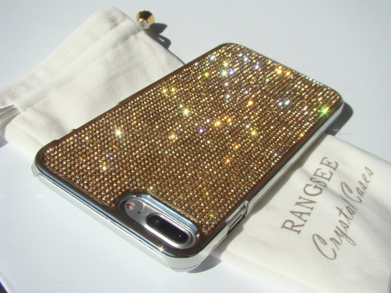 iPhone 8 Plus Case / iPhone 7 Plus Gold Topaz Diamond Rhinestone Crystals on Silver Chrome Case. Velvet Pouch Included,