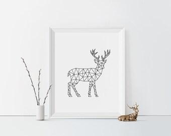 Geometric Deer Art, Deer antlers print, Antlers wall art, Digital, Modern decor, Black and white, Deer wall art, deer print, Minimalist art
