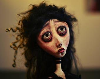 OOAK Art doll bust ETHEL, handmade doll bust, art doll bust, victorian, gothic doll bust, sad doll bust, sculpted, unique, ooak doll bust