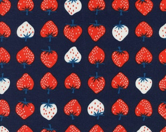 Strawberries in Red / Navy - Yours Truly Fabric by Kimberly Kight for Cotton + Steel