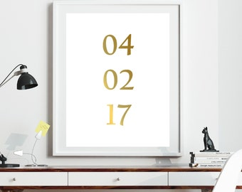 Wedding Date Print, Custom Weding Print,  Personalized Wedding, Anniversary Gift, Monogram Print, Gold Foil Print, Wedding Date, Gold Art