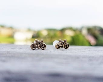 Vintage gold bicycle plastic post earrings for sensitive ears