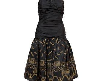 Zandra Rhodes Seide Taft schwarz und Gold lackiert Abendkleid
