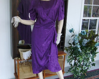 Vintage Tea Party Dress  Purple Holiday Evening Dinner