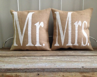 Burlap Pillows -  'Mr. & Mrs.' Burlap Pillows - Christmas Gift, Set of 2 - Wedding/Anniversary Gift, His and Hers