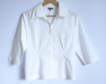 White   Blouse/ With Short Sleeves Blouse /Cotton Blouse/ Classic Collar Shirt /Shirt with Button/ 90s/ Height Fitting Blouse /Size:Madium
