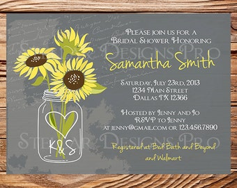Sunflowers Mason Jar Bridal Shower Invitation,Vintage Mason Jar Invitation,Gray, Brown, Mason Jar, Sunflower, Wedding Shower, 5249