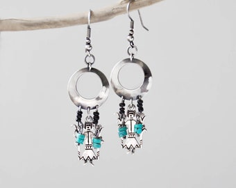 Vintage Corn Goddess Earrings - Sterling Silver maize god Southwestern turquoise charm dangle earrings - Shube's New Mexico