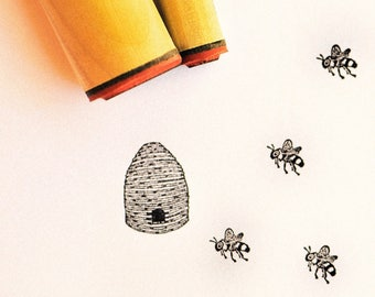 Honeybee and Hive Rubber Stamp Set