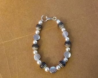 Black with grey gradient bracelet and spiral metallic beads