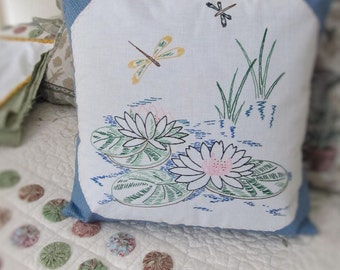 Blue Accent Pillow of Vintage Embroidery, Decorative Toss Pillow, Chair Cushion, Dragonfly Pillow, Pil8
