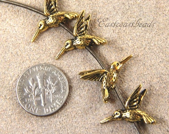 Hummingbird Beads, TierraCast Beads, Gold Hummingbird Beads, Beadins Supplies, Antique Gold Plated Lead Free Pewter, 4 Pieces, 1826