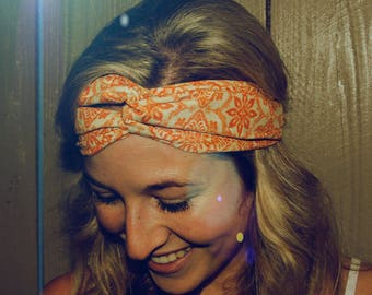 Halomaia Knotted Fabric Headband with Elastic//Headband for women and girls//Turban-Style Headband for women//Boho Headband//Chic Headband