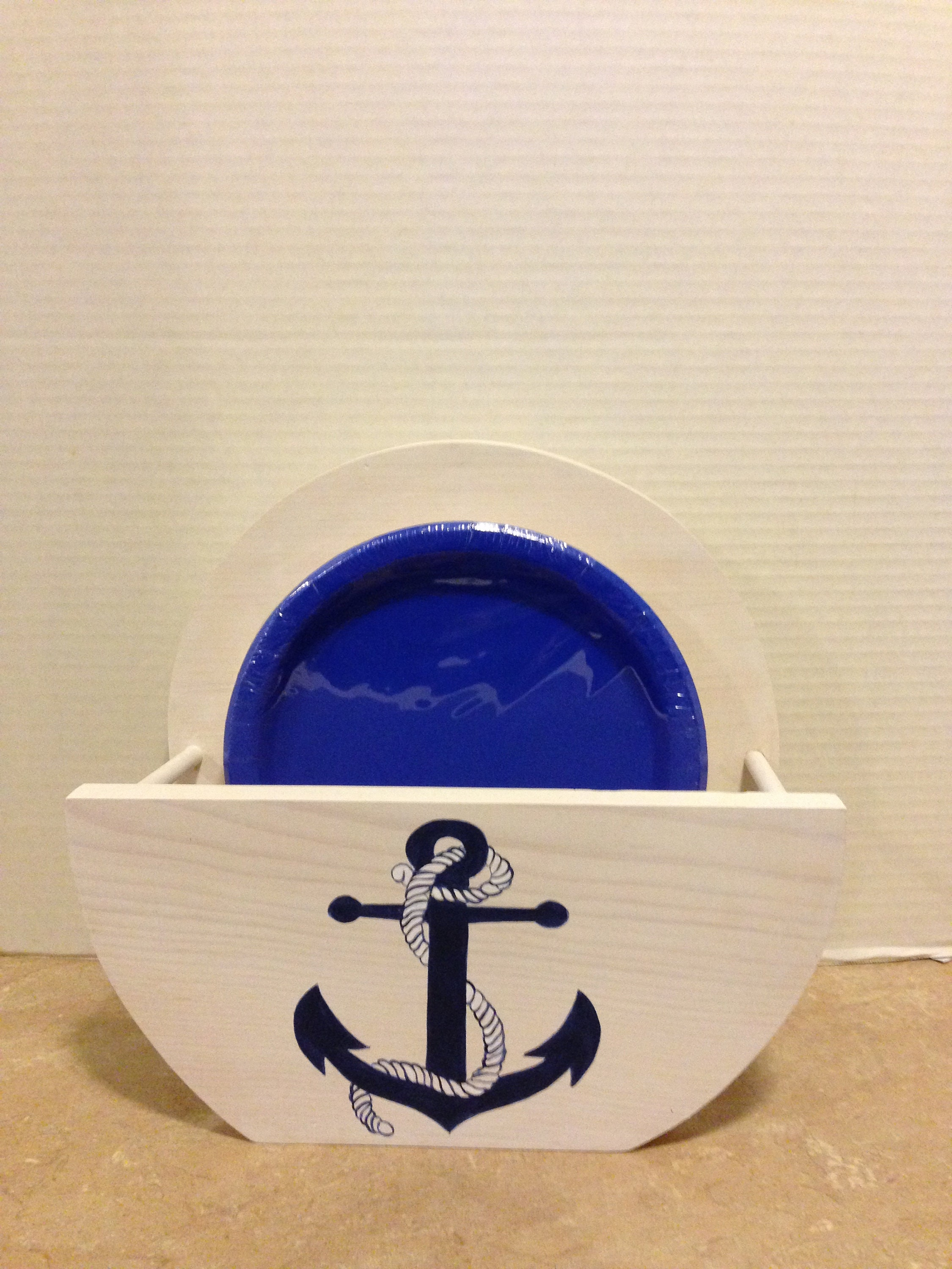 Paper Plate Holder Wooden Plate Holder Holder for plates Nautical Kitchen Nautical Decor Nautical Anchor Mothers day gift Nautical & Paper Plate Holder Wooden Plate Holder Holder for plates Nautical ...