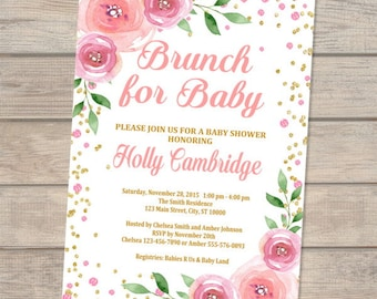 Brunch Baby Shower Invitation, Brunch For Baby Invitation, Floral Baby Shower Invitation, Baby Brunch Invitation