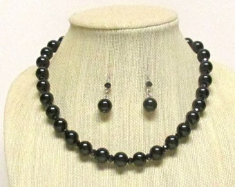 "20"" Black Glass Pearl Necklace Set #20842 black pearl necklace"