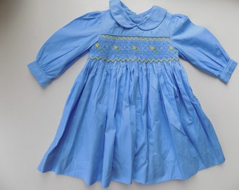 Yellow dress smocked baby blue, yellow, blue, long sleeves, Peter Pan collar, smocked dress, embroidered, clothing, baby girl, cotton, floral, dress, handmade