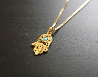 Gold Hamsa, Gold Pendant, Jewish Jewelry, December Birthstone, Hamsa Pendant, Hamsa Necklace, Jewish Necklace, Jewish Gift, Mothers Day Sale