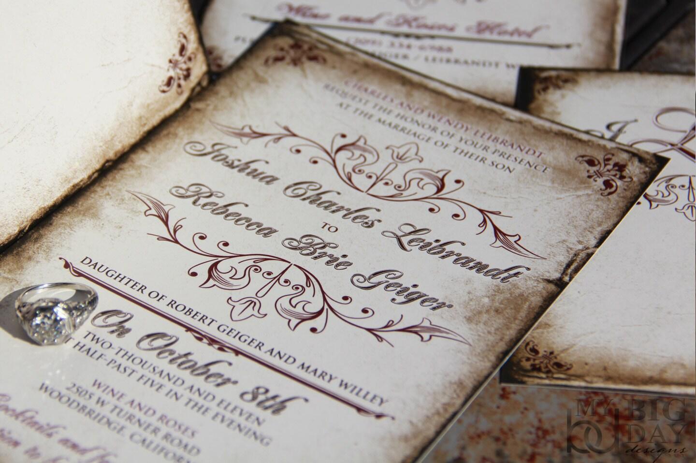 Vintage Parchment Wedding invitations. Classic Vintage wedding