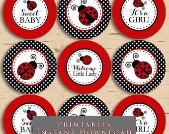 Printable Ladybug Baby Shower Cupcake Toppers Tags Red and Black Polka Dot DIY Printable INSTANT DOWNLOAD LB01