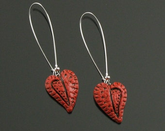 Rustic Red Heart Earrings, Silver Valentine Earrings, Long Dangle Earrings, Unique Valentine Heart Jewelry for Women, Mom, Girlfriend Gift