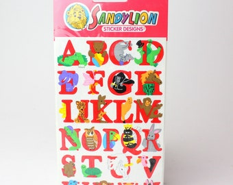 Vintage Sandylion Animal Alphabet Sticker, Set of 2 Sheets - Over 50 Stickers -
