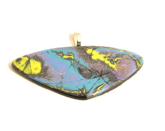 Polymer Clay Pendant Necklace. Mokume Gane Style in blue & yellow design. Unique one of a kind statement piece. Wearable Art.