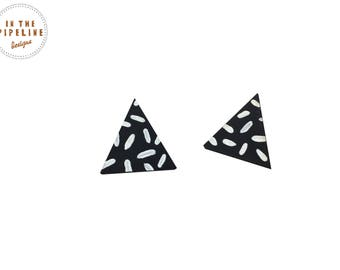 Geometric Earrings, Geometric Jewellery, Quirky Jewellery, Unusual Earrings, Gifts Under 20, Wood Jewellery, Statement Jewellery, Monochrome