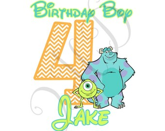 Monsters Birthday Iron On Pick your colors! - Digital - You Print