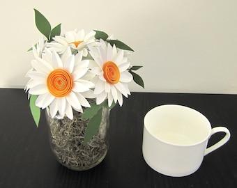 Daisy Mason Jar Bouquet - Shasta Daisies, Rustic Home Decor, Rustic Wedding