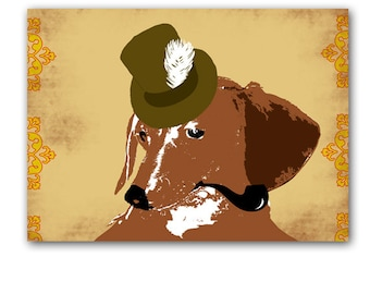 Dachshund  art with Hat and Smoking pipe -  Fine Art Print, dog art, Dachshund dog, sausage dog, Dachshund Gifts, Dog Gift Ideas
