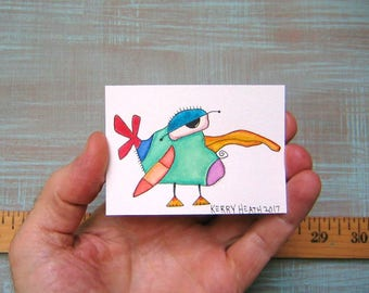 Bird-J60, Original ACEO Watercolor, Art Card, Miniature Painting, by Fig Jam Studio