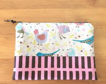 Zipper pouch - birds prints / cosmetic pouch / makeup bag